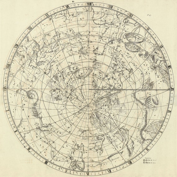 """Circular Planesphere Plate 27, 1729, Flamsteed auth., celestial map on heavy cotton canvas, 50 x 70cm, 20 x 25"""" approx."""