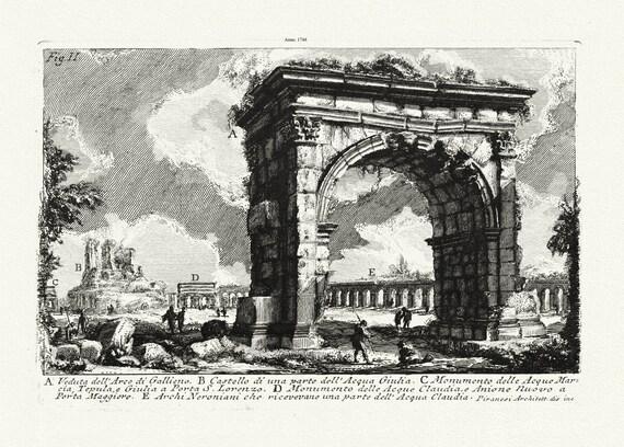 """Giovanni Battista Piranesi, Veduta dell'Arco di Gallieno, 1748 Ver. II, etching on canvas, 50 x 70cm, 20 x 25"""" approx."""