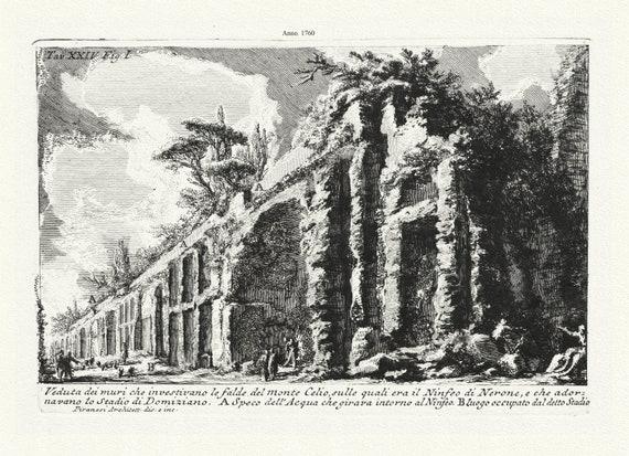 """Giovanni Battista Piranesi, Veduta dei muri che investivano le falde del Monte Celio,  c. 1760, etching, 50 x 70cm, 20 x 25"""" approx."""