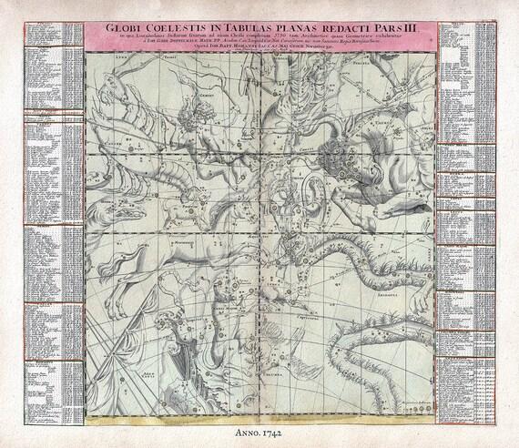 "Globi Coelestis in Tabulas Planas Redacti Pars III, 1742, Doppelmayr, celestial map on heavy cotton canvas, 50 x 70cm, 20 x 25"" approx."