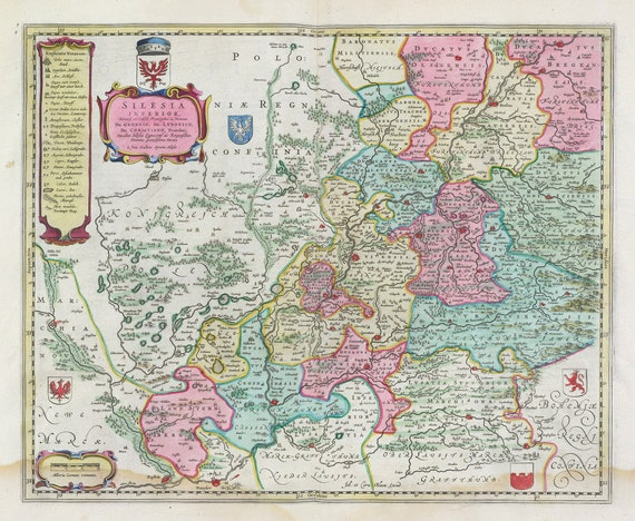 Poland: Poloniae, Silesia Inferior, 1665, Bleau auth., map on heavy cotton canvas, 50 x 70 cm