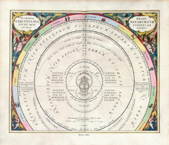 "Cellarius, Harmoni Macrocosmica IX, 1660, map on heavy cotton canvas, 50 x 70cm, 20 x 25"" approx."