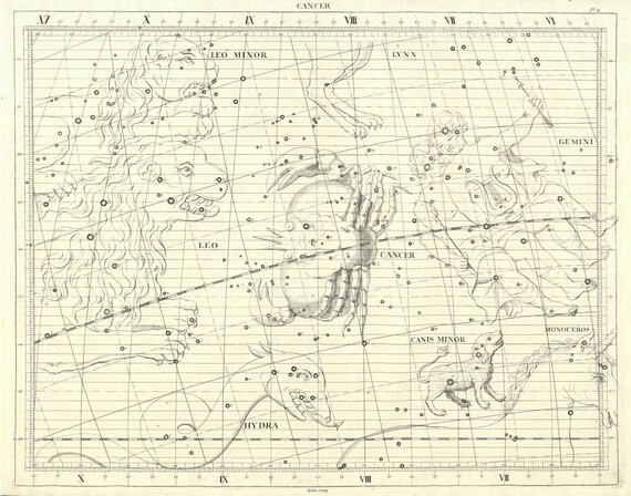 """Cancer, 1729, Flamsteed auth., celestial map on heavy cotton canvas, 50 x 70cm, 20 x 25"""" approx."""