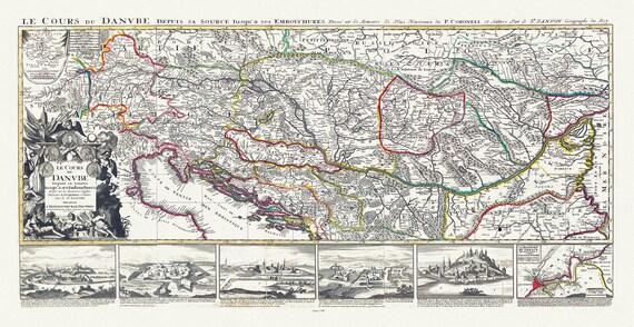 """Jaillot, Mortier et Sanson, Le Cours de Danube, 1708, 23x43"""", map on canvas"""