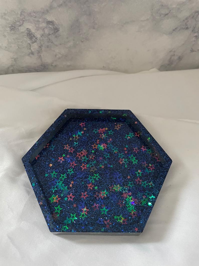 Trinket Tray Sparkly Resin Hexagon Stars and Glitter Jewelry Tray