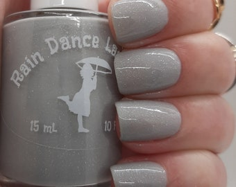 Dove Grey Crelly Nail Polish with Holographic Flakes- Mist Fall