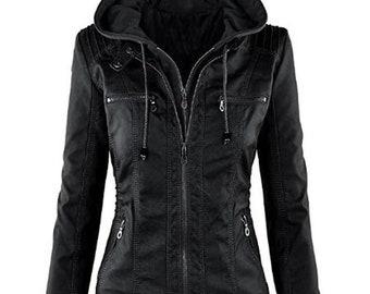 Women's Hooded Black Biker Motorcycle Real Leather Jacket Stylish Slim Fit Black Ladies Jacket