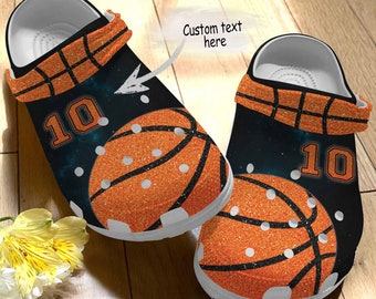 Gift For Fan Gift For Dad Basketball Personalized Crocsky I Love Basketball Gift For Mom Crocband clog