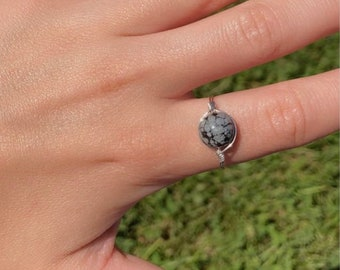 Snowflake Obsidian Wire Wrapped Ring