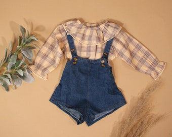 Plaid Overall Short Set Baby Toddler Girl Spring Outfit Ruffled Collar Pink Denim High Rise Modern Trendy 6M-3T