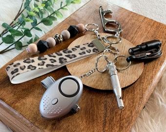 Leopard Print Safety Alarm Self Defence Keychain Wristlet | Protection Keychain | Women's Safety Keychains | Self Defence For Women