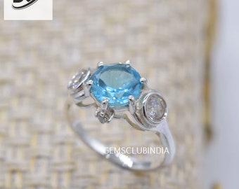 Blue Topaz Ring for Women, Handmade 925 Sterling Silver Ring, Wedding Anniversary Minimalist Ring, December Birthstone Ring, Gift for Mom