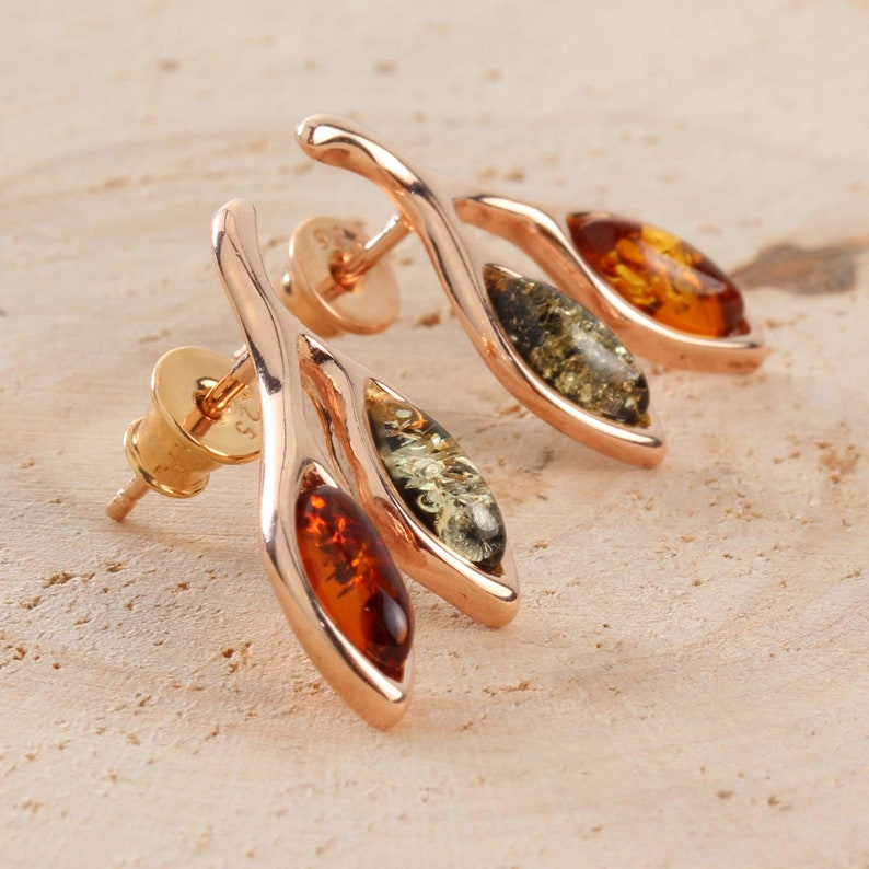 Amber Leaves Stud Earrings Rose Gold Plated 925 Sterling Silver Green And Honey Baltic Amber