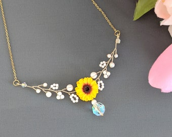 Bridal Jewelry N1578 Wedding Jewelry Wedding Gift Maid of Honor Bridesmaid Proposal Rose Gold Sunflower Necklace Bridesmaid Gift