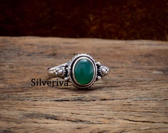 925 Sterling Silver Ring Silver Onyx Jewelry Cabochon Ring Gift Ring Green Onyx Jewelry Natural Green Onyx Ring Onyx Ring