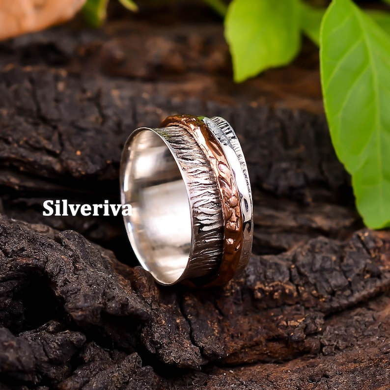 Women Ring Unique Ring Dainty Ring Worry Ring Hammered Ring Anxiety Ring Meditation Ring Flower Spinner Ring Sterling Silver Ring