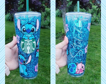Custom Decal Stitch Starbucks Snowglobe Tumbler, Snow Globe Stitch Cup, Glitter Snowglobe Stitch Cup, Starbucks Snowglobe Tumbler