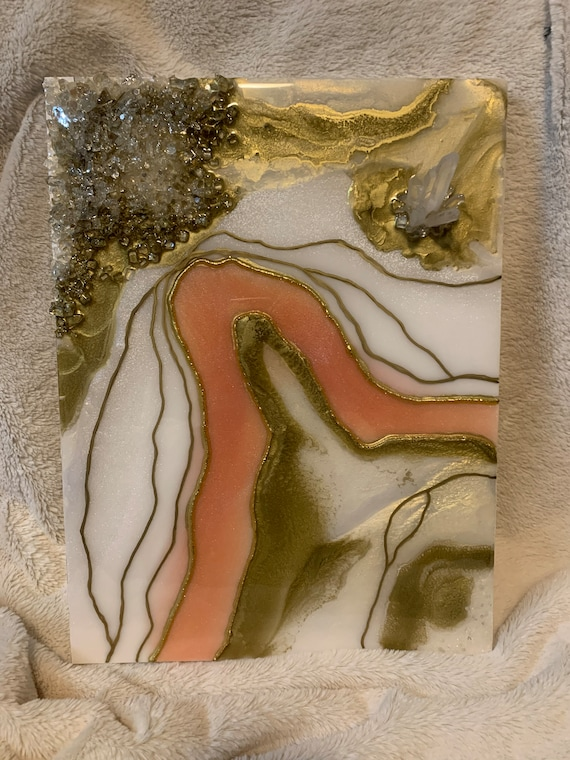 """12x16"""" Geode resin Artwork with real Quartz Crystal"""
