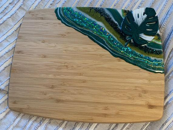 Monstera Albo styled resin cutting board - dark leaf