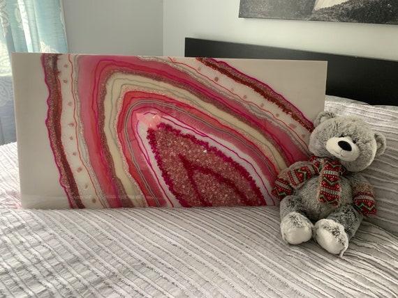 Beautiful Pink Themed Resin Geode art