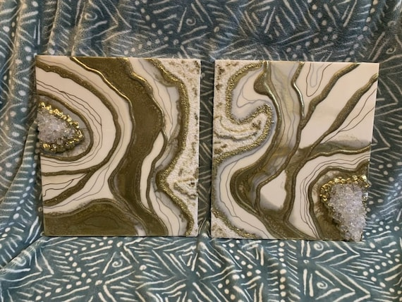 """Double 14""""x16"""" Geode Resin Art"""