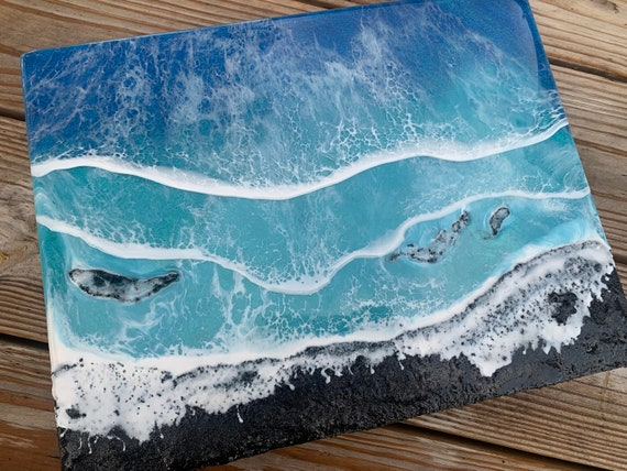"""11x14"""" Black Sand Ocean Resin Art"""