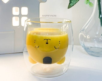 Cat Cup / Double Walled Glass Cup / Cute Cat Mug / Tea Cups, Coffee Cups / Cute Gifts for Friends / Cat  Lovers Gift / Kitten Mug