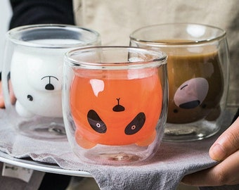 Cute Christmas Bear, Panda, Kitten, Polar Bear, Pig Double Walled Drinking Glass for Hot and Cold drinks, Fun Mug to have in a house