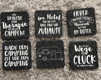 Coasters made of felt with camping motifs. Caravan or motorhome