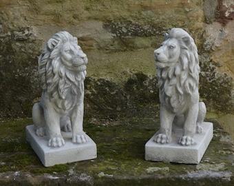 Solid Stone Lions Statue Concrete Lions Pair Sculpture Large Lion Statue Stone Lion Decoration Animal Sculpture Garden Ornaments Outdoor