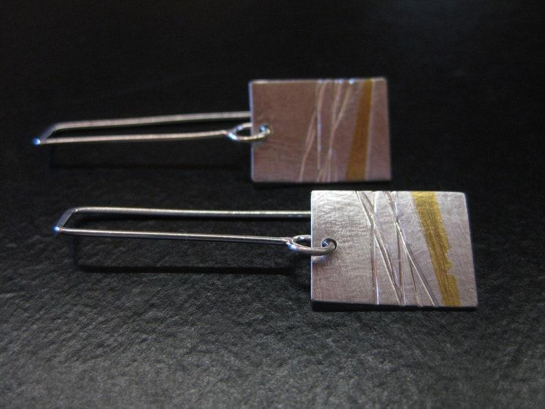 Long Rectangle Dangle Earrings Gold and Silver Earrings Long Drop 24kt Silver Earrings Handmade and Unique Long Keum Boo Earrings