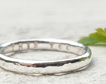 Hidden Message Ring - Personalized Ring, Hammered Ring Band, Silver Band, Stamped Ring, Custom Ring, Stacking Ring, Artisan Jewellery