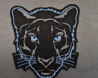 Panther head light blue, patch, applique