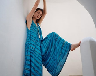 Summer Jumpsuit Romper Playsuit Resort Wear Hand Tie Dyed Style Wide Leg Pant OS One Size Fits All Blue Brown B163