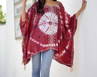 Poncho hand tie dyed Blouse shirt Beach Holiday Wine - embroidered big top - B316