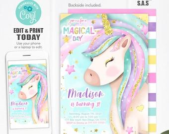 Unicorn Invitation, Unicorn Invite, Instant Download Unicorn Invites, Unicorn711