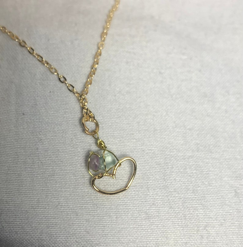 Healing Gemstone Crystal Heart Gold Chain Necklace LIGHT BLUE