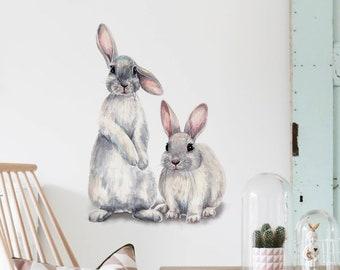 XG N//H Rabbit Wall Stickers Cartoon Animal Sticker Peel and Stick Wall Art Sticker Decals for Kids Girls Bedroom Living Room Bathroom Kitchen Classroom