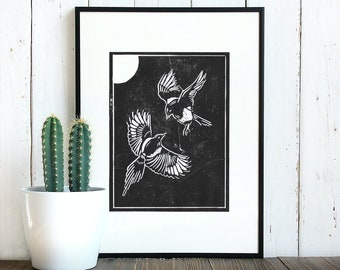 Two For Joy Magpies Lino Print | Handprinted Linocut Artwork on 280 gsm Heavyweight Printmaking Paper. Suitable for 10 x 8 inch frame.