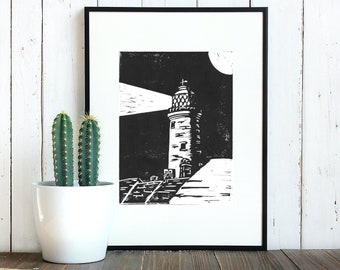 Southwold Lighthouse Lino Print | Handprinted Linocut Artwork on 280 gsm Heavyweight Printmaking Paper. Suitable for 10 x 8 inch frame.