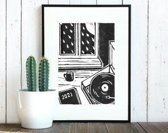 Vinyl Night In Lino Print | Handprinted Linocut Artwork on 280 gsm Heavyweight Printmaking Paper. Suitable for 8 x 6 inch frame.
