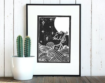 Silent Sea Lino Print | Handprinted Linocut Artwork on 280 gsm Heavyweight Printmaking Paper. Suitable for 8 x 6 inch frame.