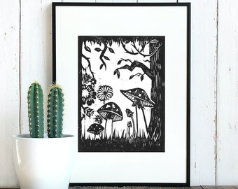 Magical Forest Mushrooms | Handprinted Linocut Artwork on 280 gsm Heavyweight Printmaking Paper. Suitable for 10 x 8 inch frame.