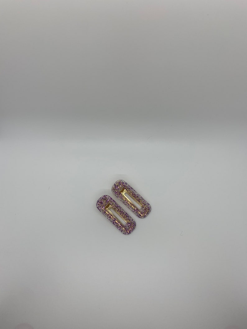 Big Glitter Rectangle Resin Barrettes Set of Two