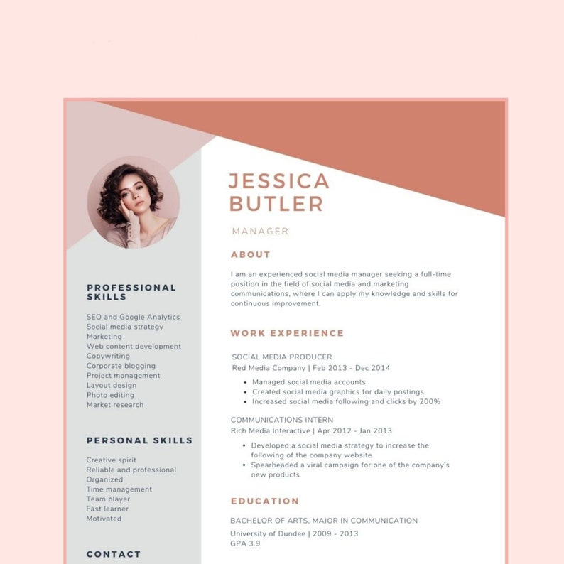 Executive Creative Modern Professional Resume Cv Canva Template for Engineer Developer Cv Template with Photo MANAGER Cv Template