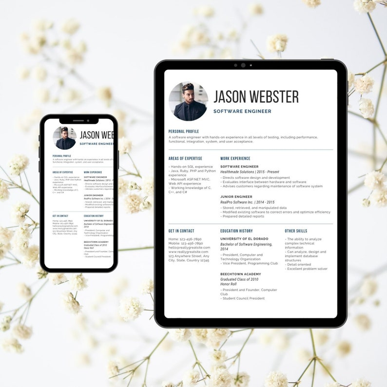 Clean Minimal Resume CV Template Modern Cv Resume Canva Template Student Teacher Nurse Accountant Resume CV 1 Page Resume CV Word Design