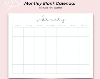 Monthly Blank Calendar, Simple Calendar, 11 x 8.5 inches, Horizontal Printable Calendar Pages, PDF Printable, Instant Download
