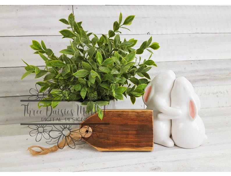 Spring White Board Background Bunnies Farmhouse Stained Wood Tag Sign Mockup White Rabbits Burlap Ribbon Basket Tag