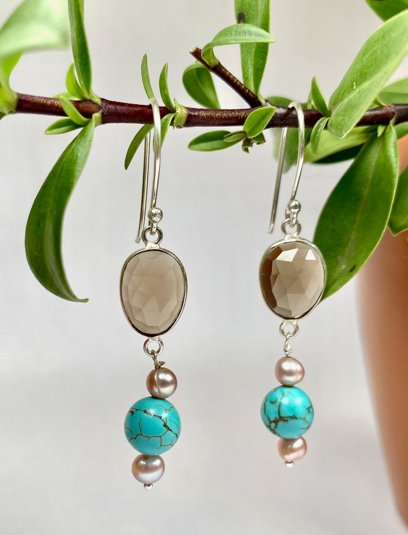 Real rose cut smoky quartz turquoise and pearl earrings Rare elegant gemstone April birthstone dangle and drop everyday boho earrings gift