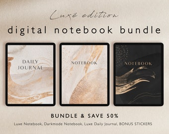 Digital Notebook Bundle - Daily Journal, Luxe Notebooks, Dark mode - for Goodnotes, notability and iPad